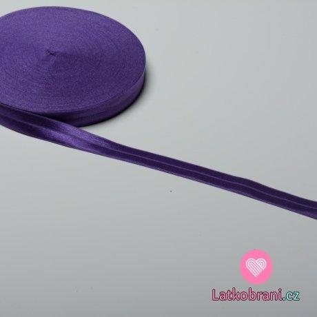 Šikmý proužek / lemovací pruženka tmavě fialová 19 mm