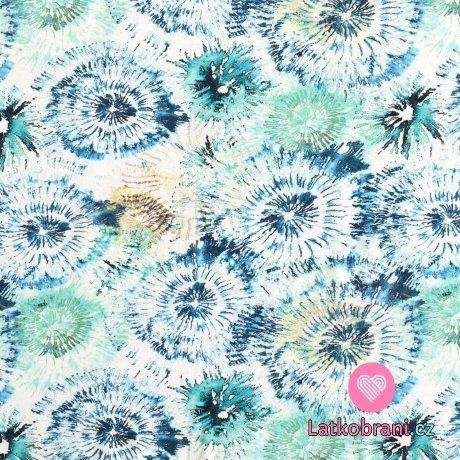 Úplet potisk modré batikované květy