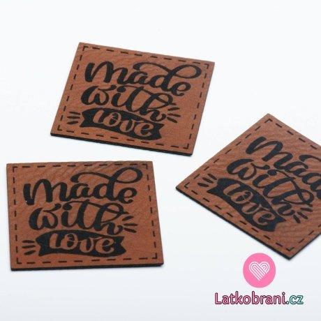 """Štítek na oblečení """"Made with love"""", koženkový"""