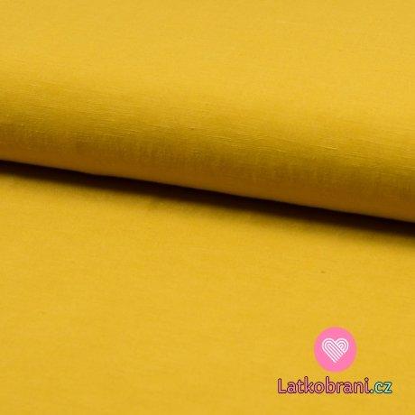 Viskóza s příměsí lnu (šatovka) jednobarevná hořčicová