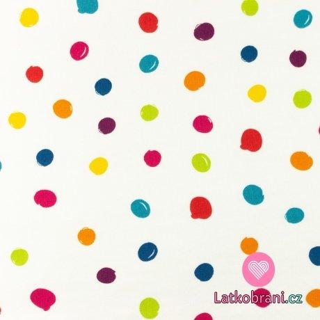 Úplet potisk nepravidelné vícebarevné puntíky na bílé