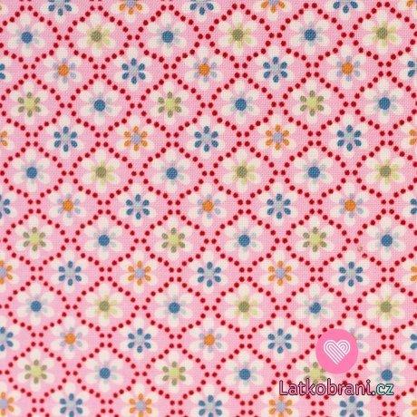 Bavlněné plátno kvítka na růžové