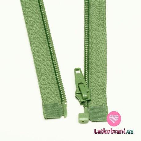 Zip spirálový dělitelný olivový 55cm