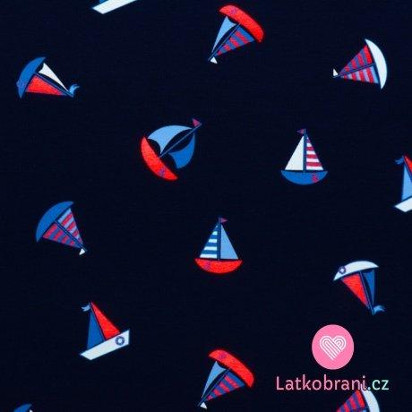 Úplet potisk plachetnice na námořnicky modré