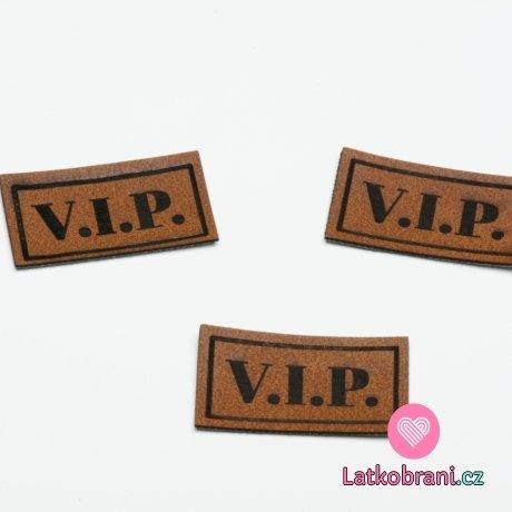 "Štítek na oblečení ""VIP"", koženkový, hladký povrch"