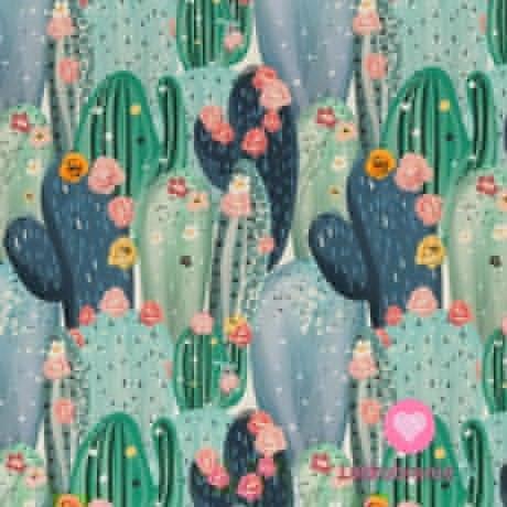 Úplet potisk kvetoucí kaktusy