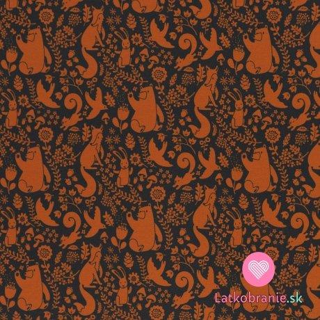 Teplákovina potisk oranžová lesní zvířátka na tmavě modré