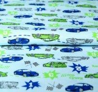 Bavlněný úplet závodní auto zelené na modré