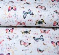 Teplákovina poletující motýli na světle šedé melé