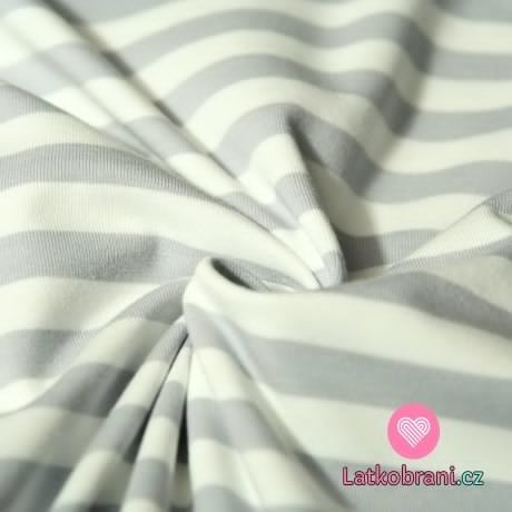 Úplet proužky stejné široké šedé s bílou