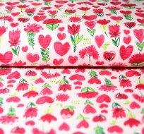 Teplákovina tulipán se srdíčky na růžové