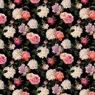 Úplet potisk viskózový romantické květy na černé