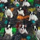 Úplet digitisk buldočci s podkladem cihlové graffity zdi