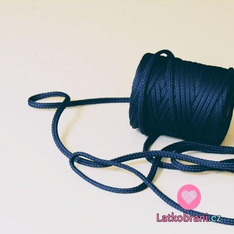 Šňůra kulatá oděvní PES 7 mm tmavě modrá