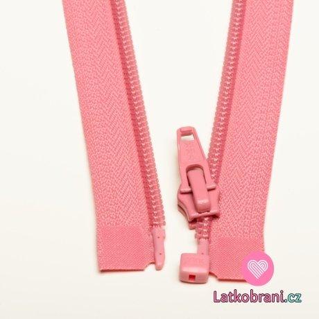 Zip spirálový dělitelný růžový 35cm