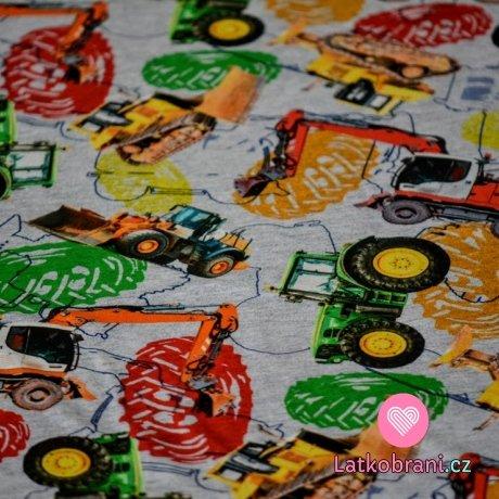 Teplákovina potisk traktory, bagry mezi barevnými pneumatikami na šedé