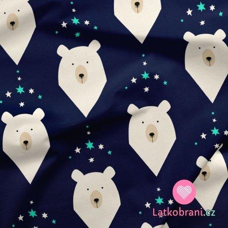 Softshell potisk hlavy medvídků na granátově modré