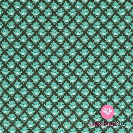 Úplet potisk mintové žabky na khaki zelené