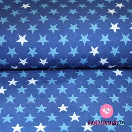 Softshell hvězdy modré, bílé na švestkovo-jeansové (2,5cm)
