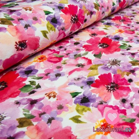 Teplákovina pestrobarevné malované květy