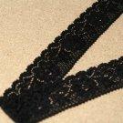 Krajka elastická kytičky černá 47mm