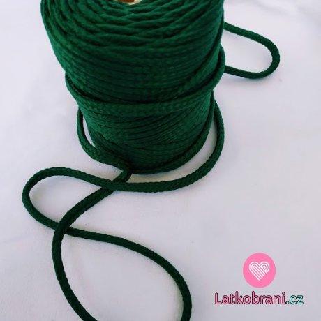 Šňůra kulatá oděvní PES 7 mm tmavě zelená