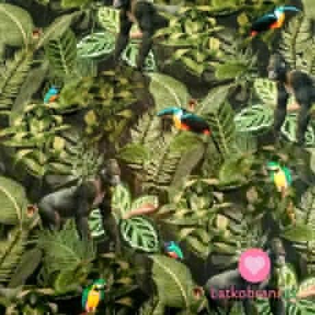 Teplákovina potisk gorily a papoušci v tropickém pralese
