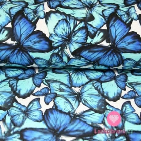 Teplákovina motýlci modří na smetanové