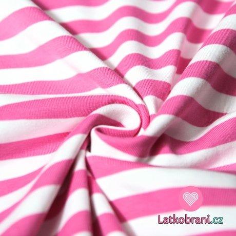 Úplet proužky stejné široké růžové s bílou