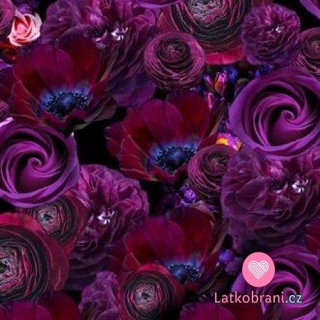 Úplet potisk fialové květy