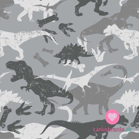 Teplákovina počesaná potisk dinosauři na šedé