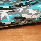 Teplákovina maskáč modrý tyrkys