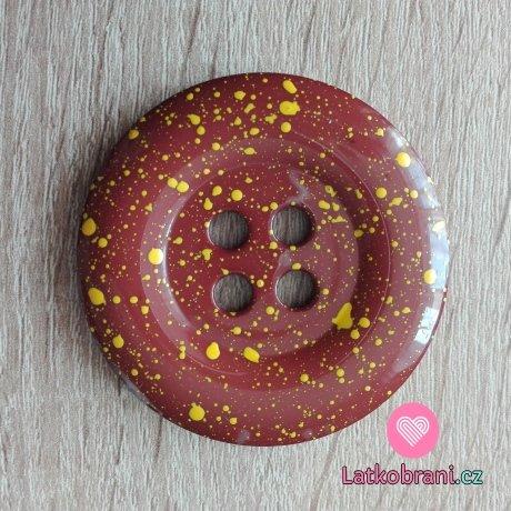 Knoflík mega velký čokoládově hnědý se žlutými cákanci