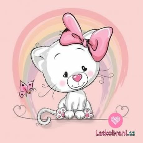 Panel kočička s růžovou mašlí a motýlkem na růžové