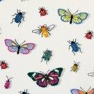 Úplet potisk vintage motýlci a broučci na bílé
