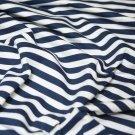 Bavlněný úplet proužky tmavě modré s bílou