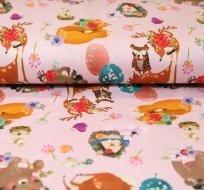 Úplet spící liška s medvídkem na růžové