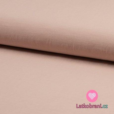 Viskóza s příměsí lnu (šatovka) jednobarevná pudrově růžová