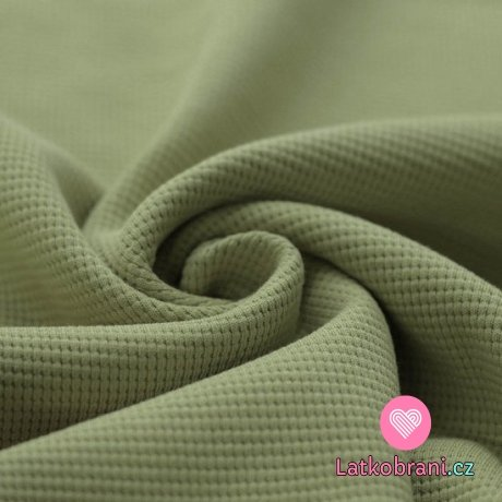 Bavlna s vaflovou vazbou jednobarevná olivová