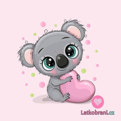 Panel sladká koala se srdíčkem na růžové