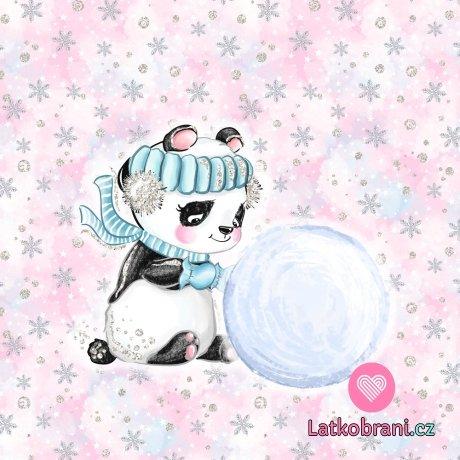 Panel panda se sněhovou koulí na růžové