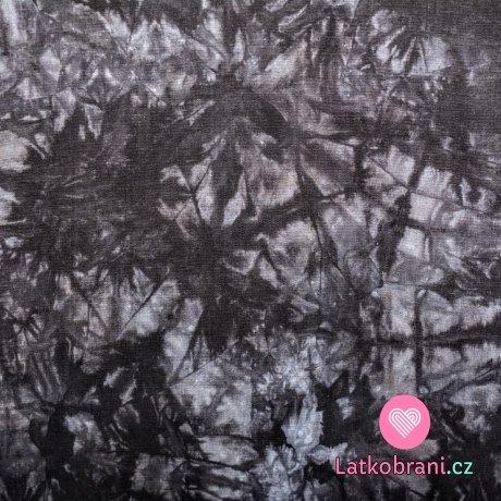 Viskóza s příměsí lnu batika černo - šedá