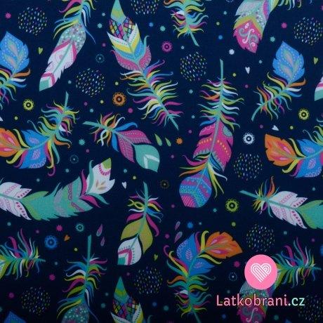 Softshell potisk lehce poletující peříčka na modré