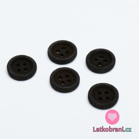 Knoflík kulatý, dřevěný tmavě hnědý 15mm