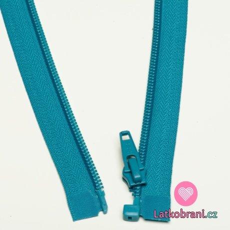 Zip spirálový dělitelný modrý 55cm