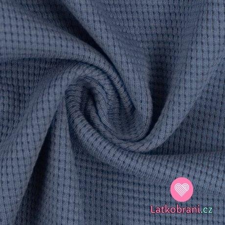 Bavlněná vaflovina jednobarevná džínová modrá