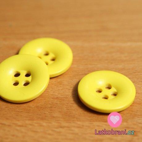 Knoflík hladký lesklý žlutý 24mm