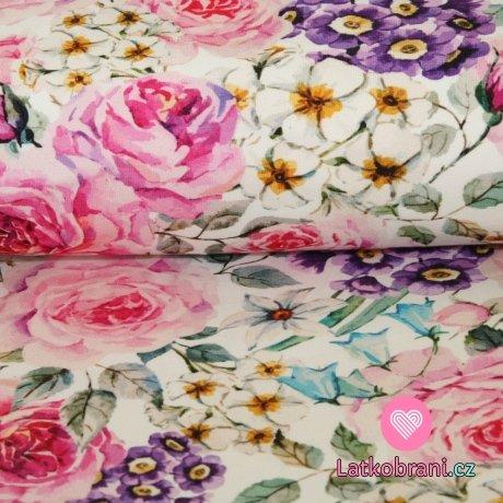 Úplet potisk malované růže a fialky