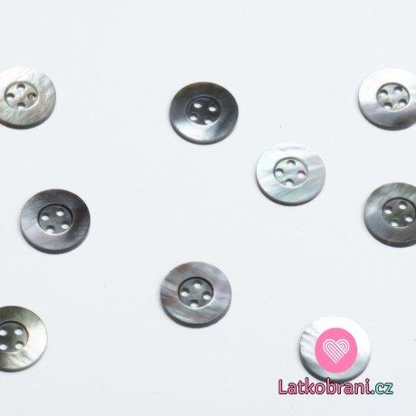 Knoflík kulatý, čtyřdírkový tahita perleť 13mm