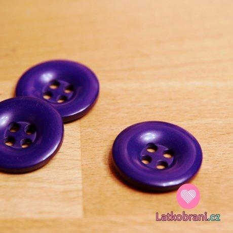 Knoflík hladký lesklý fialový tmavý 24mm